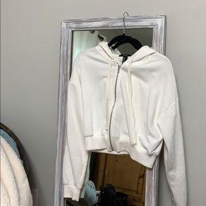 Forever 21 crop white sweatshirt